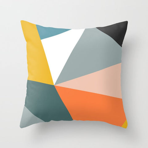 Image of Orange Throw Pillow Case Mid Century Geometric