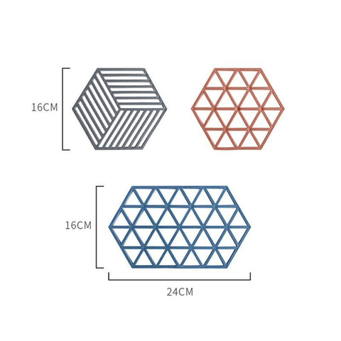 Image of Blue Red Grid Hexagon Shape Silicone Non-slip Cup Mat