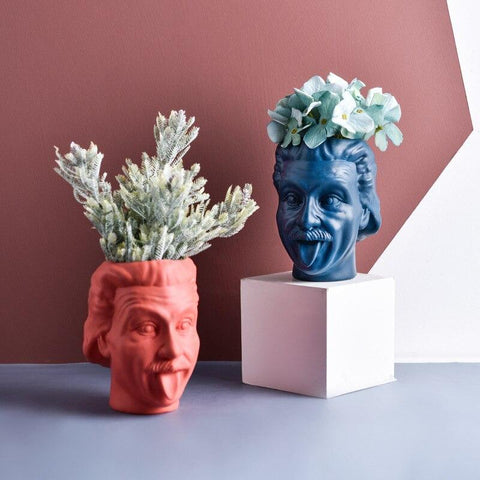 Einstein Shape Resin Flower Vase Table Flowerpot
