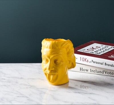 Image of Einstein Shape Resin Flower Vase Table Flowerpot