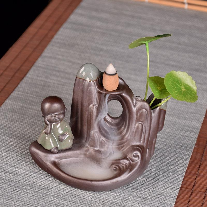 Mountain River Small Monk Backflow Incense Holder