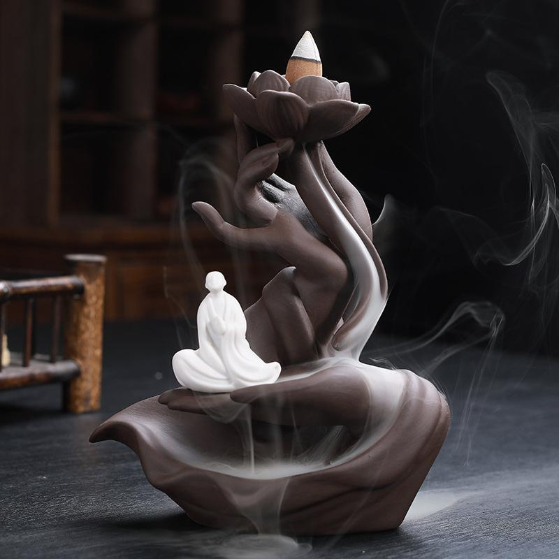 Buddha Hand Backflow  Ceramic Lotus Incense Stick Holder