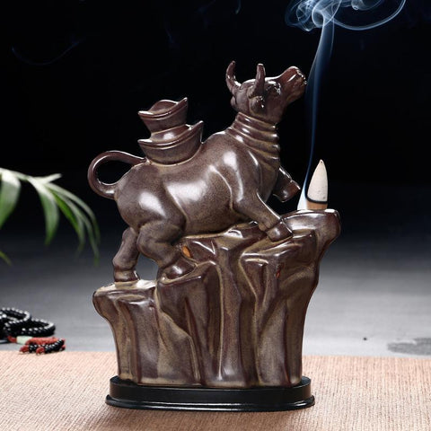 Image of Cattle Gold Ingot Censer Creative Home Decor Letter Print Incense Holder