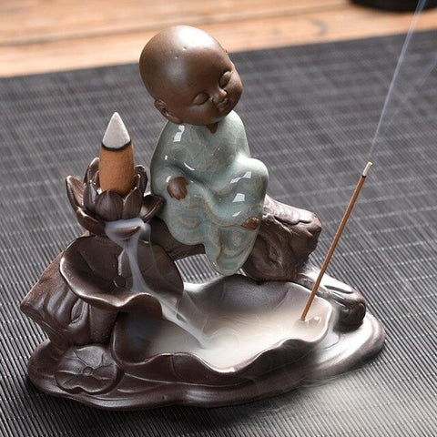 Image of small buddha backflow incense burner