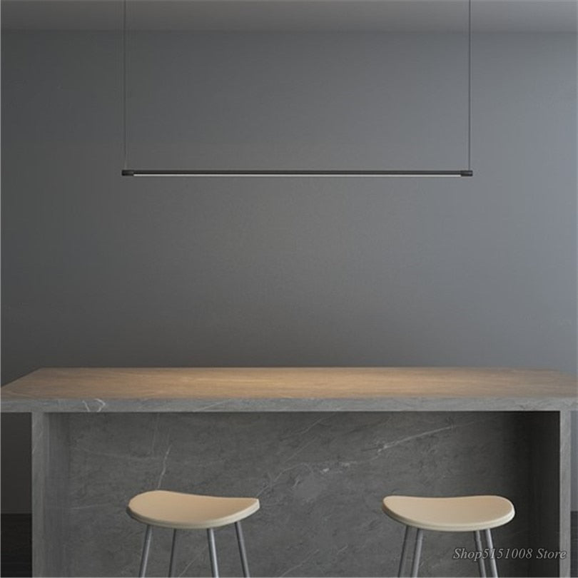 Minimalist Line Strip Pendant Lamp LED DiningRoom Light