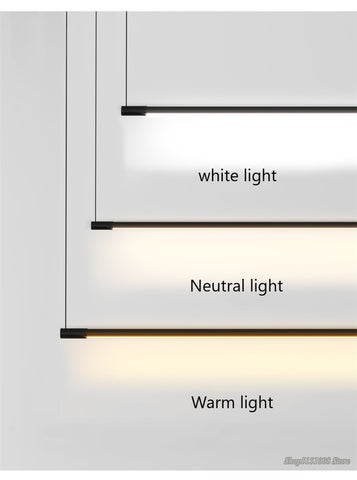 Image of Minimalist Line Strip Pendant Lamp LED DiningRoom Light