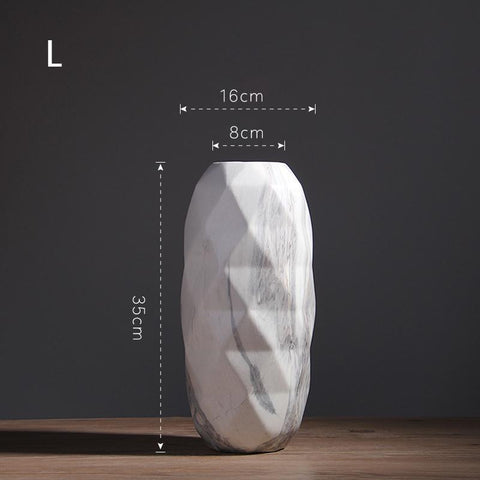 Image of Noti Home Faceted Marble Vases
