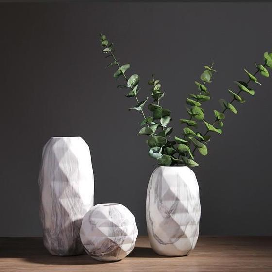 Noti Home Faceted Marble Vases