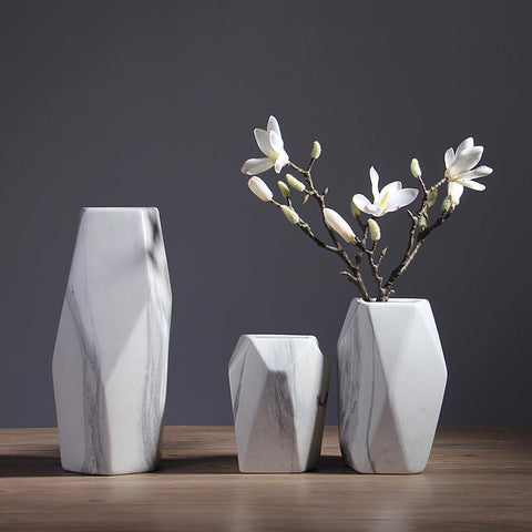 Image of Geometric Marble Vase Collection.