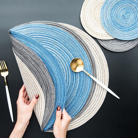 Cotton Linen Weaving Round Place mat Cup Pad