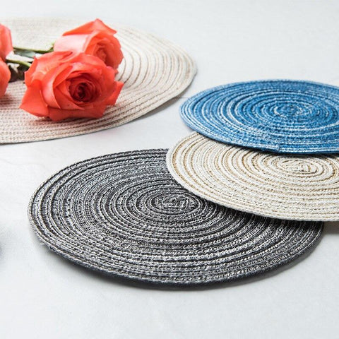 Image of Cotton Linen Weaving Round Place mat Cup Pad