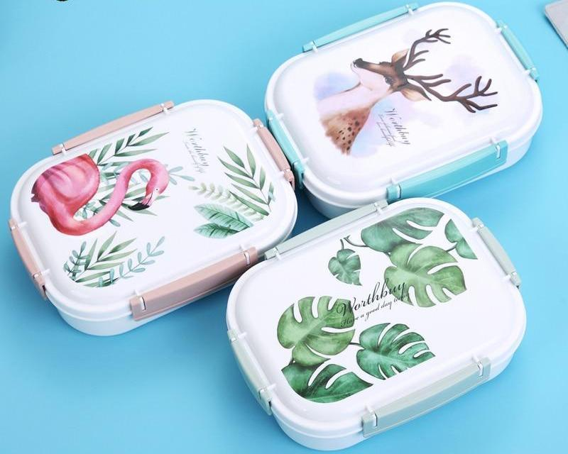 Art Stainless Steel Multi-Compartment Leak Proof Lunch Box