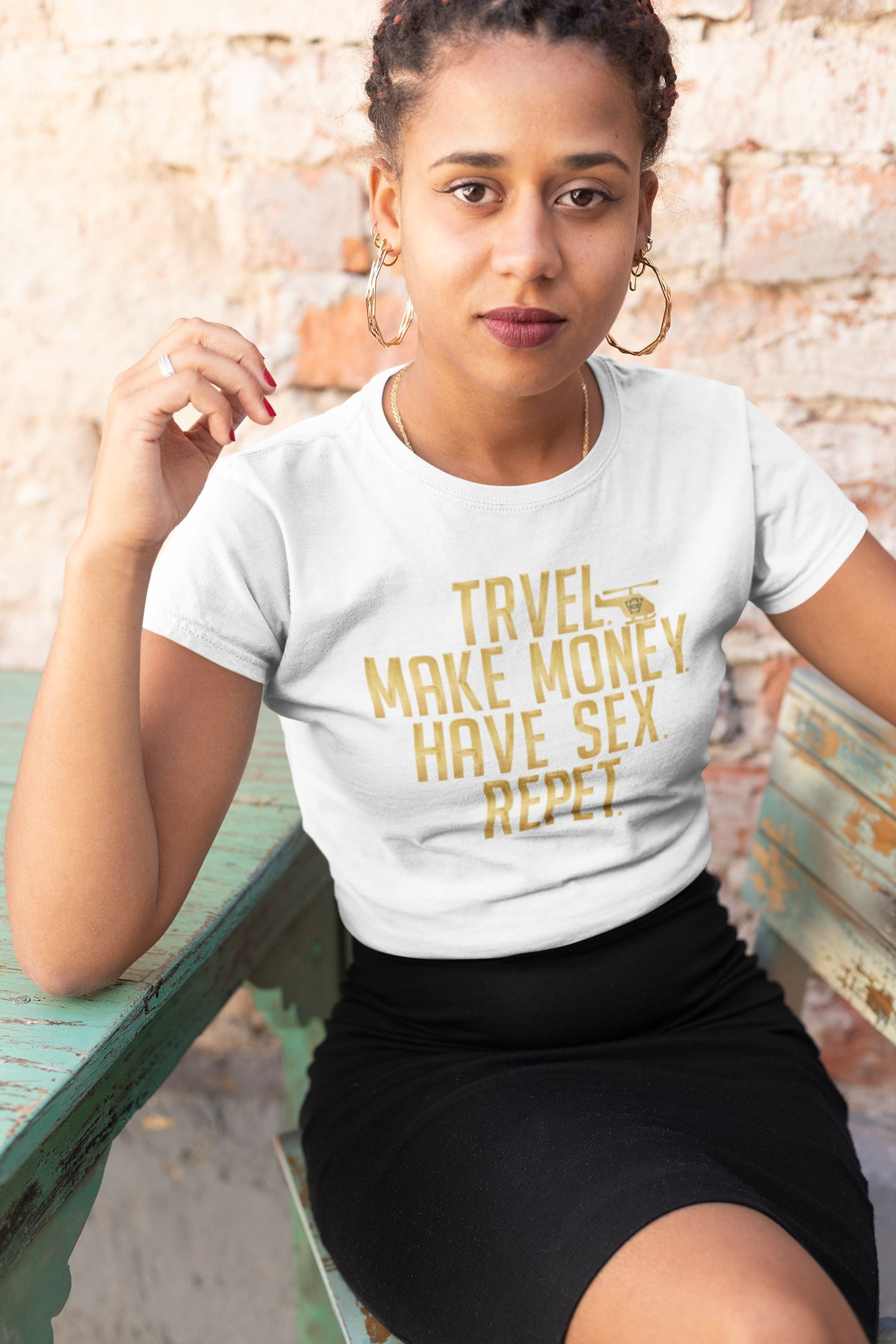Travel - Make Money - Have Sex - Repeat Tee Women T-shirt EntrepreneurKing.co White S