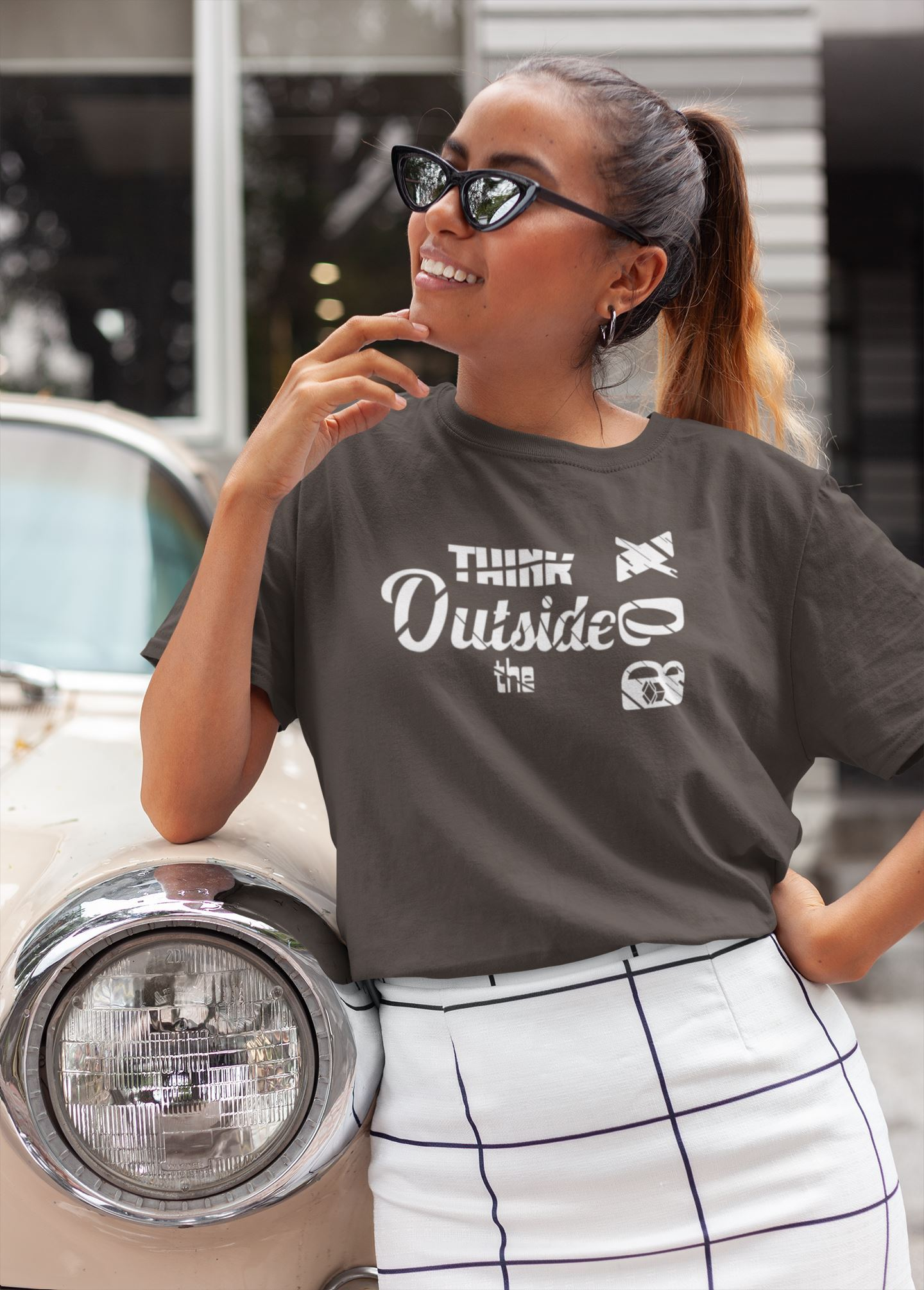 Think Outside The Box Tee Women T-shirt EntrepreneurKing.co Brown S