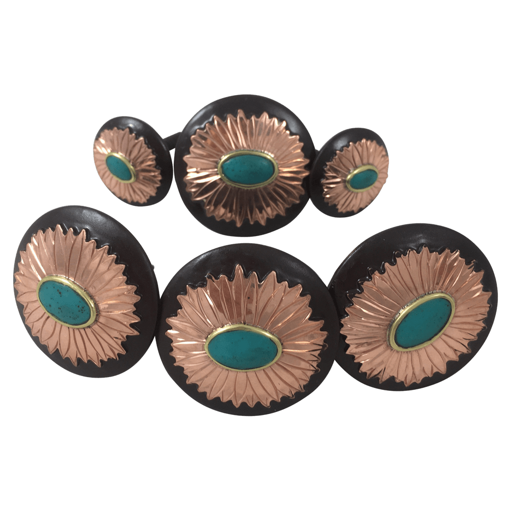 CBCONCH 109A Starburst With Turquoise Conchos - Corriente Buckle