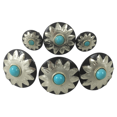 CBCONCH 109B Starburst With Turquoise Conchos - Corriente Buckle