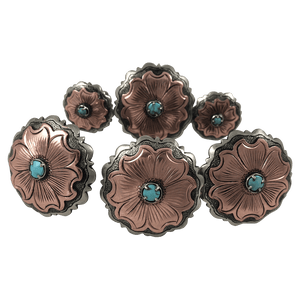 CBCONCH 109C Copper Flower With Turquoise Conchos - Corriente Buckle