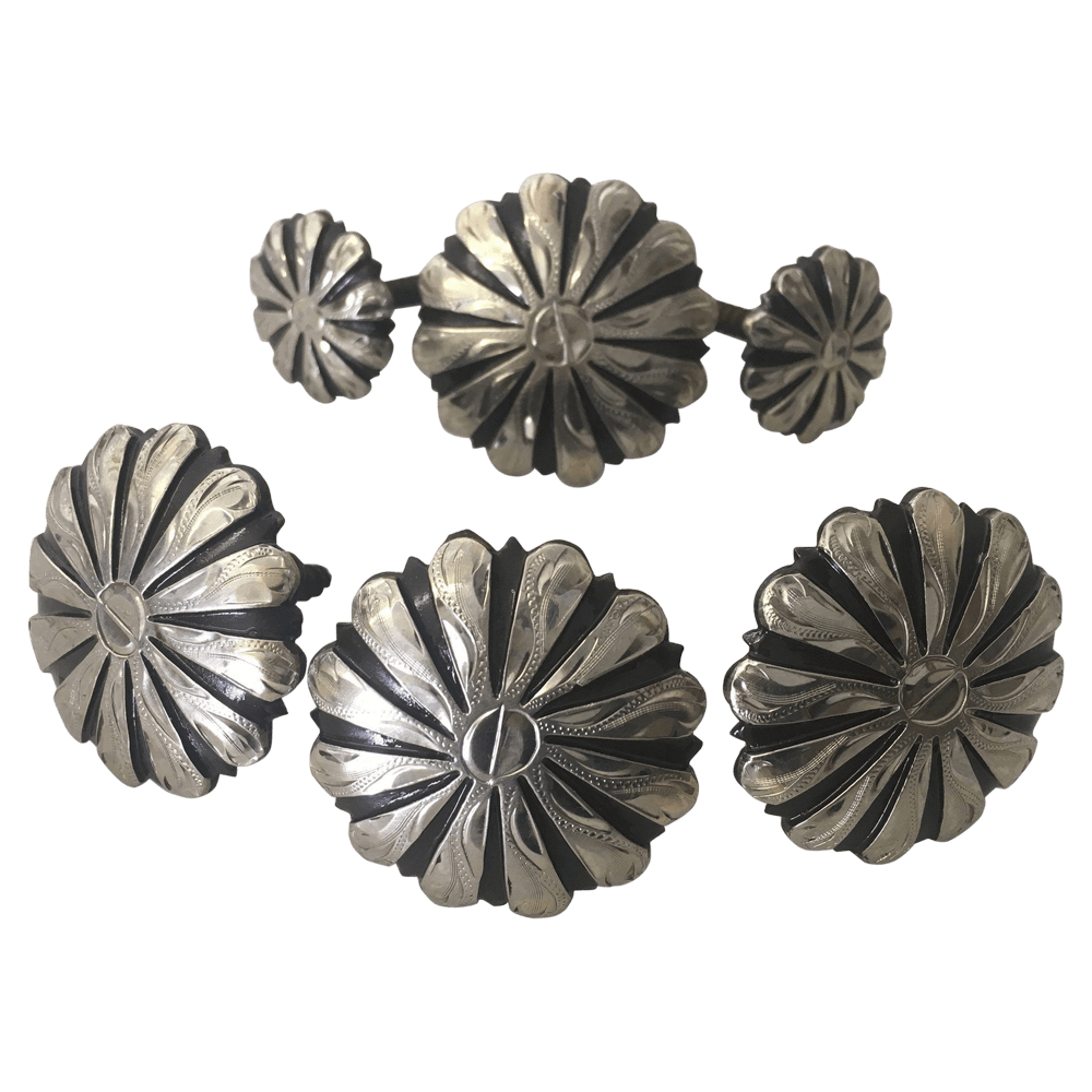 CBCONCH 116 Silver Striped Conchos - Corriente Buckle