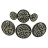 CBCONCH 122A Silver Filagre Turquoise Stone Conchos - Corriente Buckle