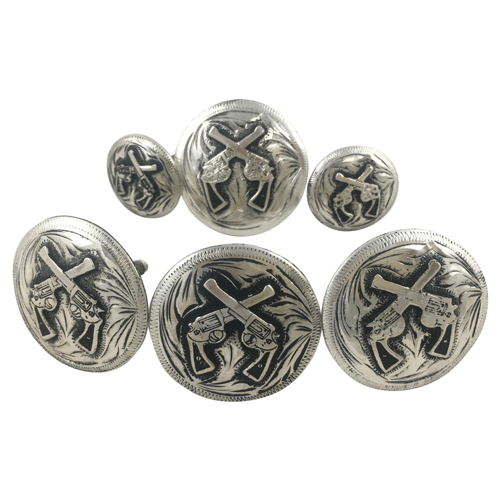 CBCONCH 124B Cross Pistol Conchos - Corriente Buckle