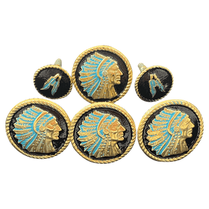 CBCONCH 124D Gold Indian Head Dress with Feathers Conchos - Corriente Buckle