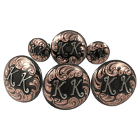CBCONCH 125F Copper with Initials Conchos - Corriente Buckle