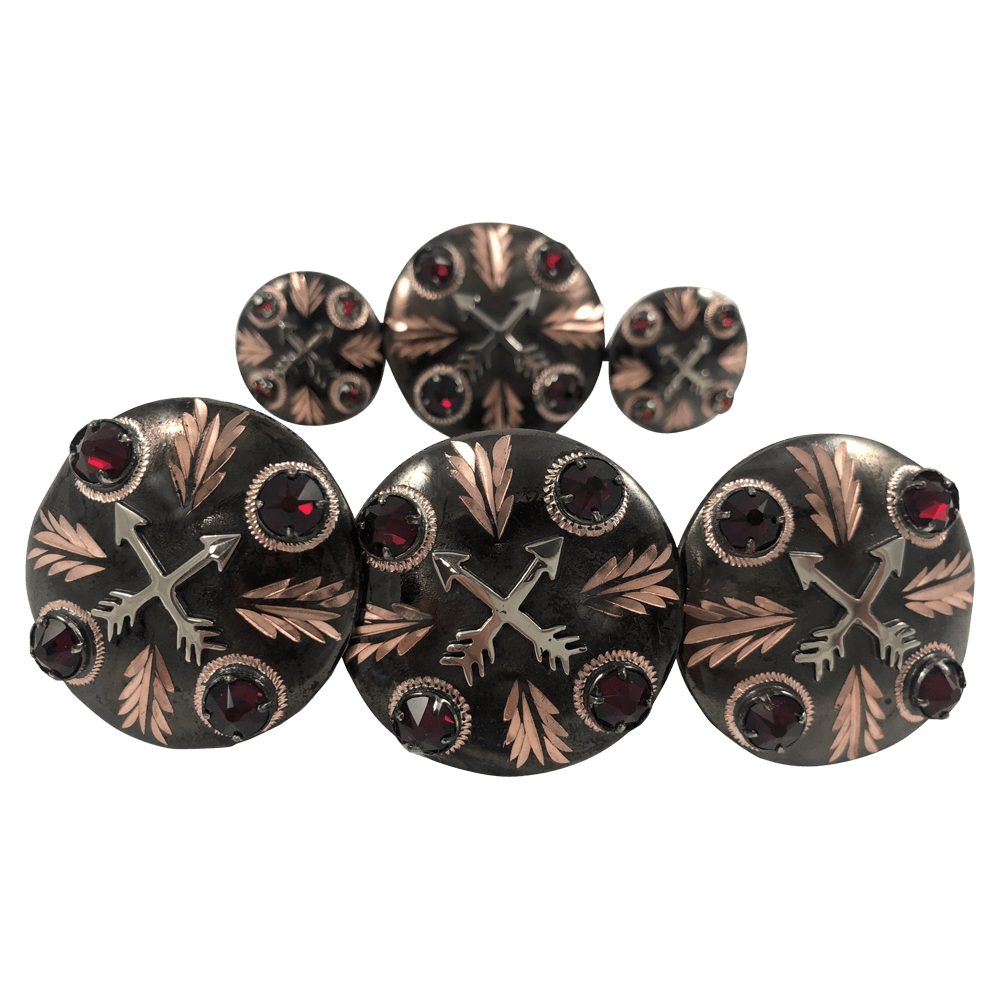CBCONCH 128BA Red Stone Conchos - Corriente Buckle