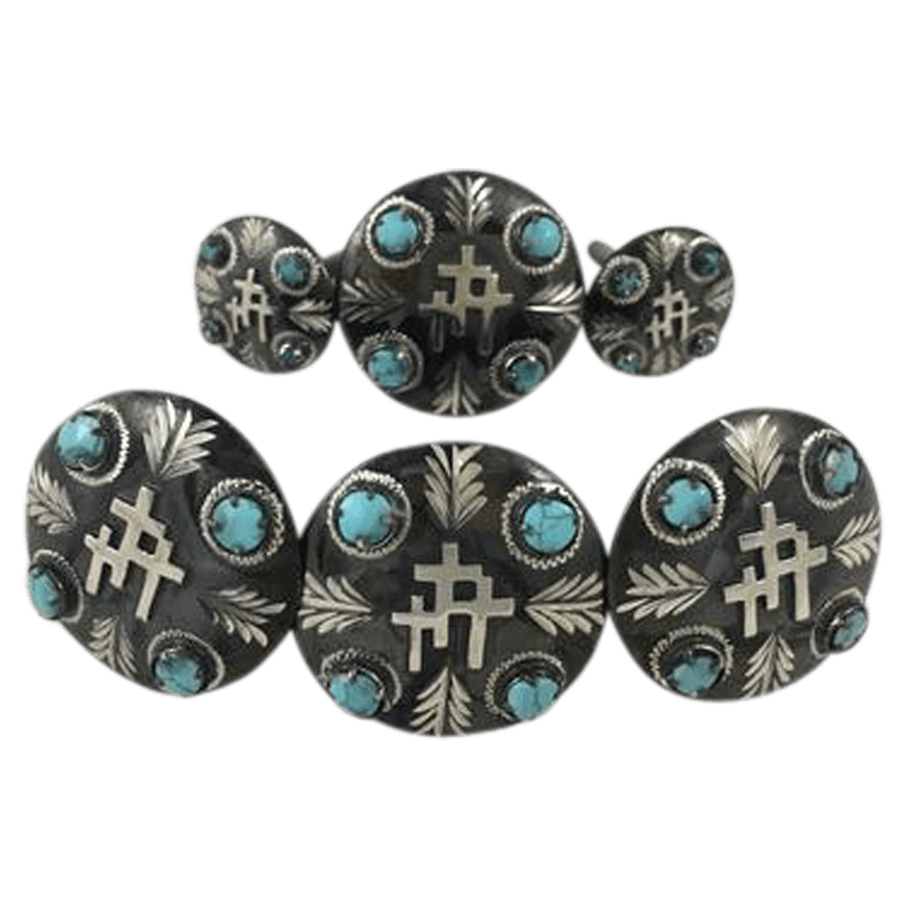 CBCONCH 129F Three Crosses Turquoise Stone Conchos - Corriente Buckle