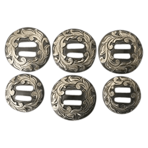 CBCONCH 138 Silver Floral Slotted Conchos - Corriente Buckle