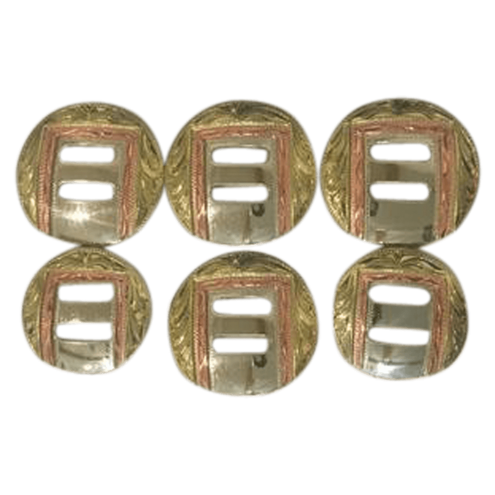 CBCONCH 139 Brass/Copper Slotted Conchos - Corriente Buckle