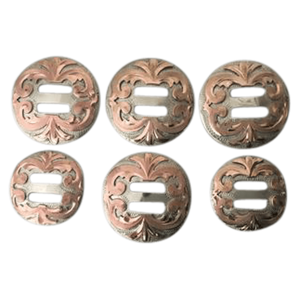 CBCONCH 141 Copper Floral Silver Slotted Conchos - Corriente Buckle