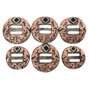 CBCONCH 141A Copper Floral Silver Slotted Conchos - Corriente Buckle