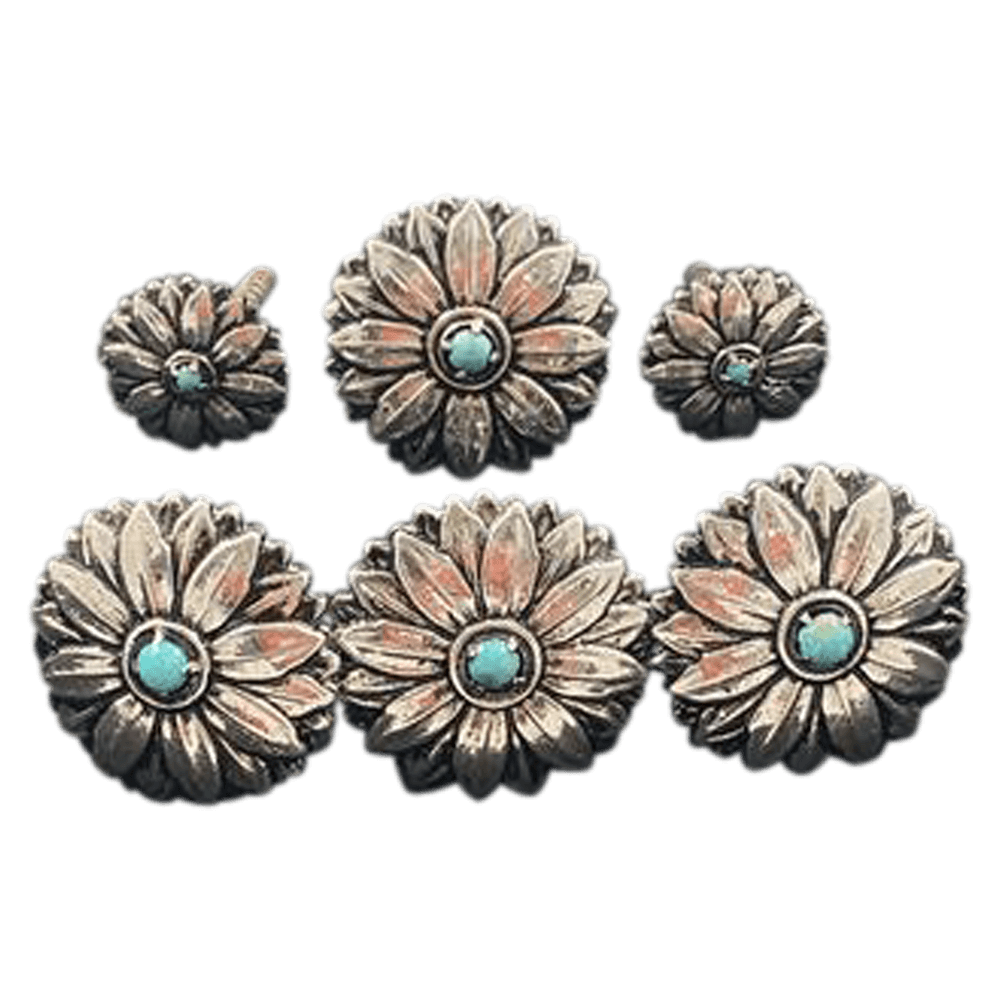 CBCONCH 162 Silver Sunflower with Turquoise Stone - Corriente Buckle