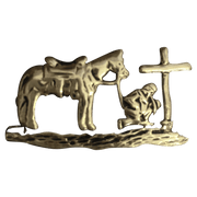 Cowboy Kneeling at Cross - Corriente Buckle