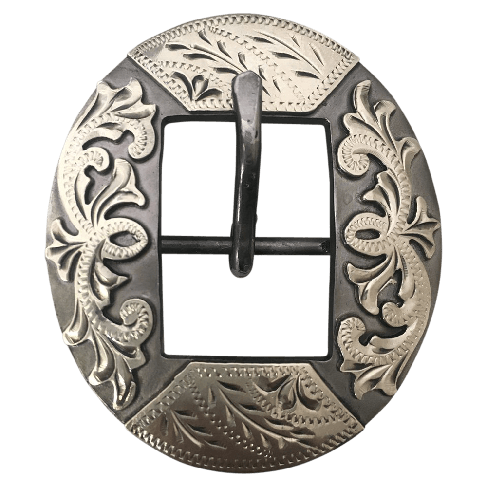 CSHB 140 Custom Silver Floral Cart Headstall Buckles - Corriente Buckle