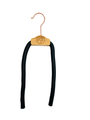 one maple gold bendable, durable, versatile hanger that alleviates shoulder bumps, clothes slippage, and collar stretching created by regular hangers