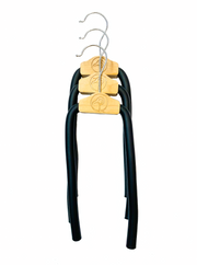 three silver bendable, durable, versatile hanger that alleviates shoulder bumps, clothes slippage, and collar stretching created by regular hangers