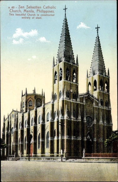 The Minor Basilica of San Sebastian, 1891. An all-steel church built in the Gothic Revival style. Legend has it that Gustave Eiffel was involved in the engineering.