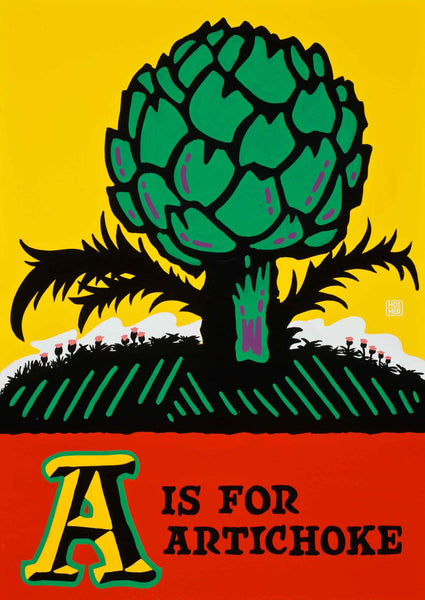 A is for Artichoke Postcard