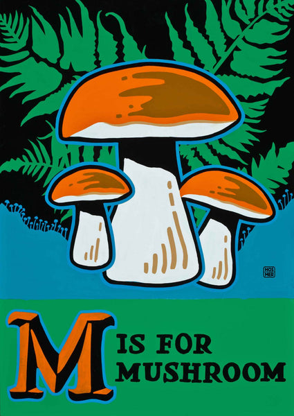 M is for Mushroom Postcard