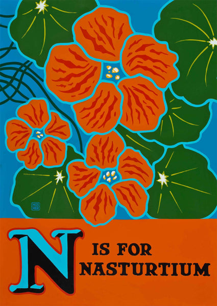 N is for Nasturtium Postcard