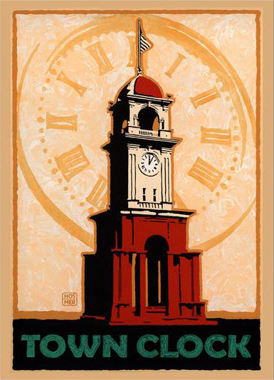 Town Clock Poster