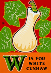 W is for White Cushaw Postcard