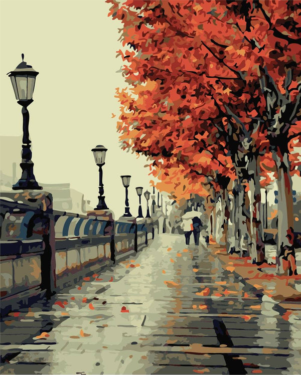 Romantic Autumn Street - Jenra Store