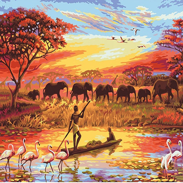 Elephant Sunset - Painting By Numbers - Jenra Store