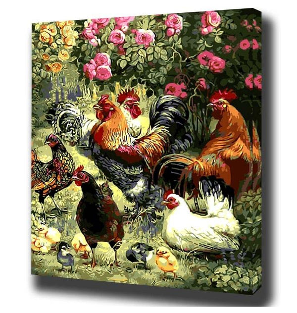 Roosters & Hens- Painting By Numbers - Jenra Store