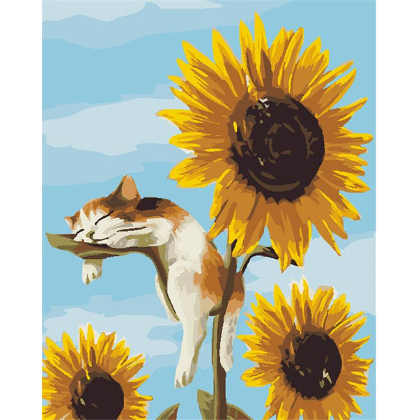 Sleeping Cat & Sunflowers- Painting By Numbers - Jenra Store