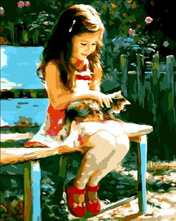 Cute Girl & Kitty - Painting By Numbers - Jenra Store