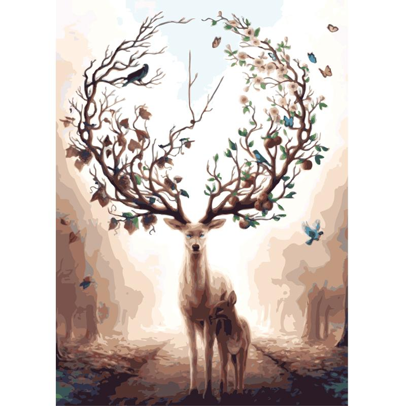 Laurel Wreath™ Elk - Painting By Numbers - Jenra Store