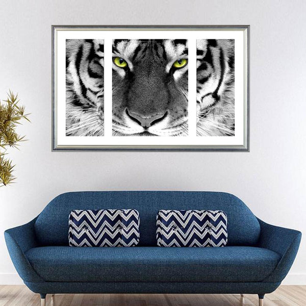 White Tiger - 5D™ Diamond Painting Kit - 3Pcs Canvas - Jenra Store